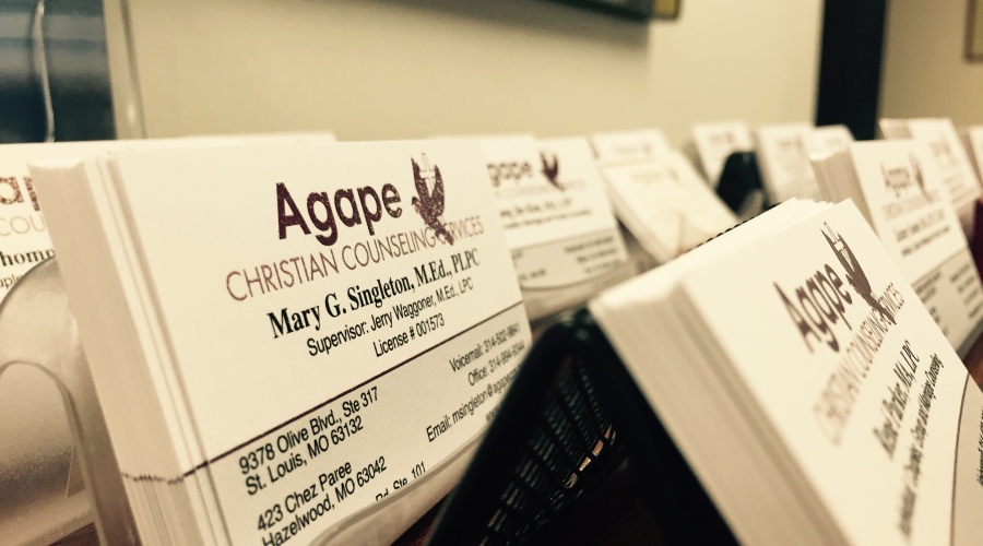 Olivette Marriage Counseling Agape Business Cards in Office