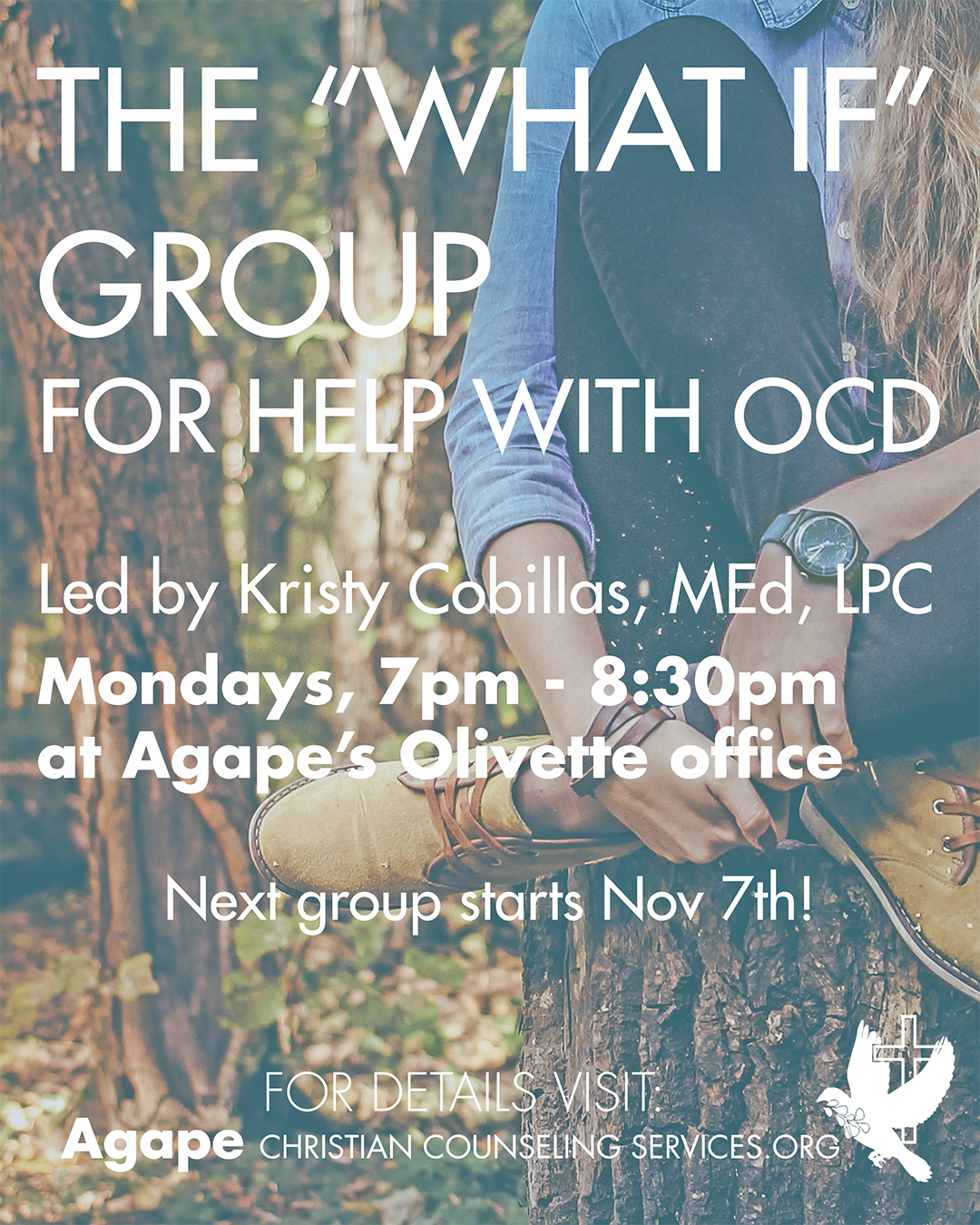 Support group for OCD/Anxiety disorders at Agape Christian Counseling Services St Louis MO. Contact Kristy Cobillas LPC for details 314-643-8506